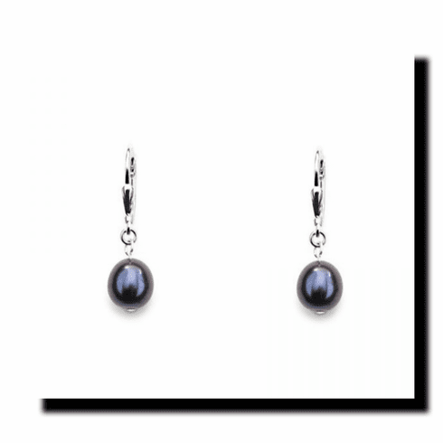 Black Freshwater Pearl Drop Earrings