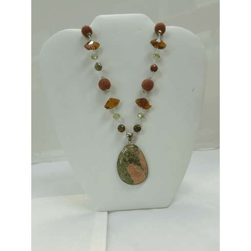 Douglas Paquette Crystal and Unakite Stone Necklace