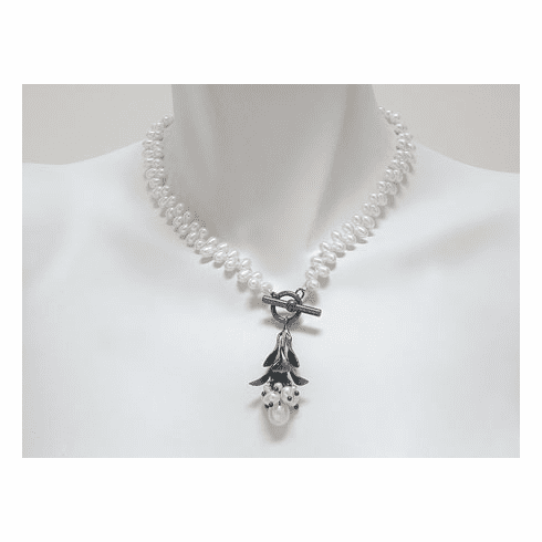 Erica Zap - BUD CLUSTER NECKLACE - White Freshwater Pearls
