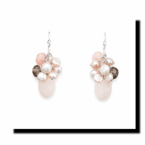 Pink Quartz Cluster Earrings