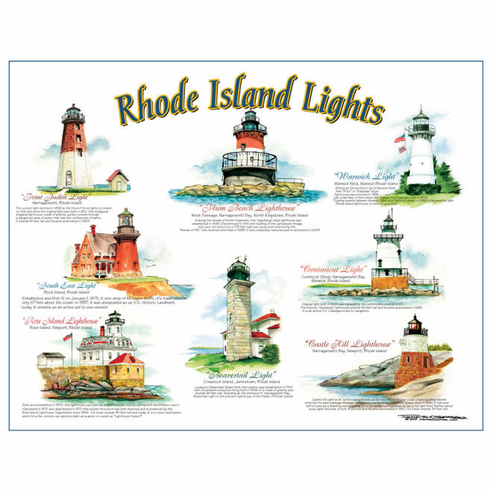 Rhode Island Lights Lithograph by Frankie Galasso