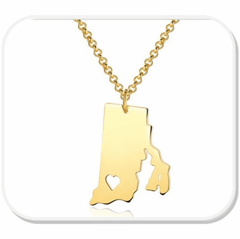 RI Heart Pendant Necklace