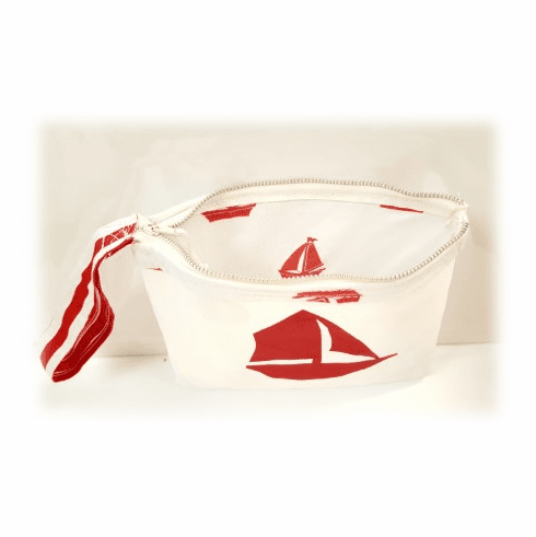 RI Sailcloth Wristlet - Red Sailboat