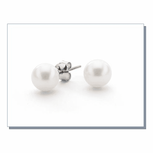 White Freshwater Pearl Stud Earrings, in 4 sizes