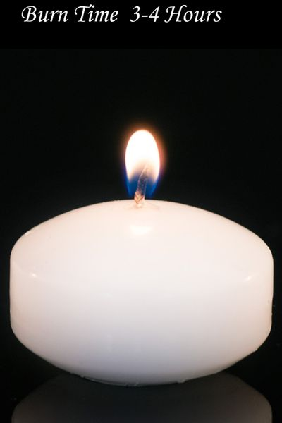 "Floating Candles White 2"" 4pcs - Burn Time 3-4 Hours - Unscented, Dripless"