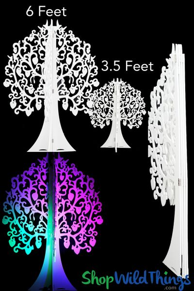 3-D Fantasy Forest Laser Cut Tree - 4 White Panels - 6 Feet Tall - Folds Flat