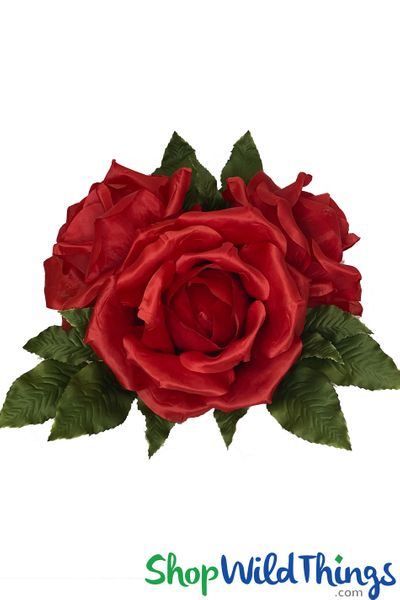 """3 XL Rose Cluster WITH STAND! Red 12"""" x 18"""""""