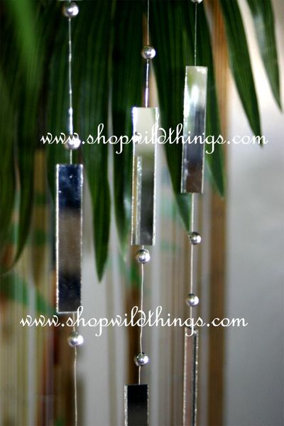 3pcs - 9 Foot Long Mirror Strands Each (rectangle with silver balls)