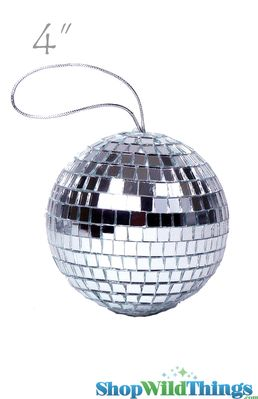 4 Quot Mirror Disco Ball Ornament 4 Quot With Attached String
