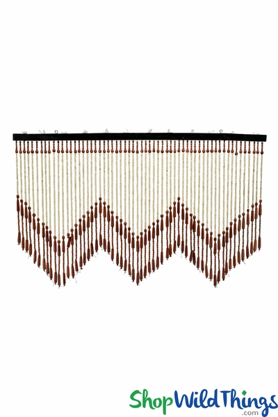 "COMING SOON! Wooden Bead Valance - ""Brisbane II"" Chestnut w/Point - 35"" x 21"" - 60 Strands"