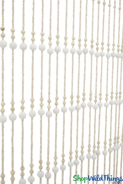 "Wooden Bead Curtain - ""Foster Ivory & Bone"" - 35"" x 68"" - 19 Strands"