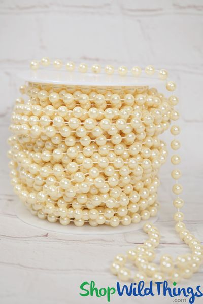 Roll of Beads PREMIUM WEIGHT - 22 Yards (66 Feet) Ivory Pearls 8mm Balls