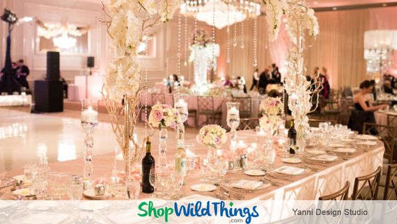 A Romantic Ballroom Reception Featuring Blush, Bashful and Bountiful Bling
