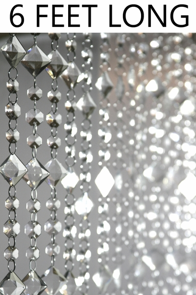 Aces and Eights Beaded Curtain - Crystal - 3 ft x 6 ft