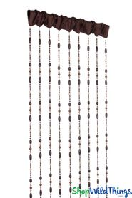 "Acrylic Beaded Curtain ""Costa"" Brown Fabric Top - 40"" x 84"" - Hand Strung!"