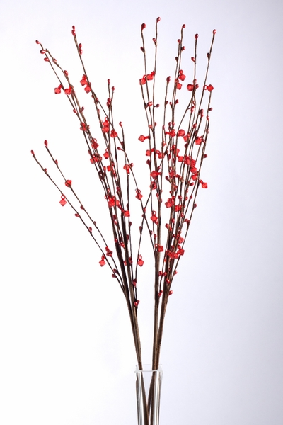 """Coming Soon! Acrylic Beaded Floral Spray 35"""" Red - 5 Pc Set"""
