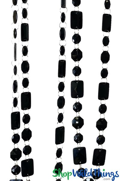 "Acrylic Garland ""Marilyn"" Black 30 Feet Long"