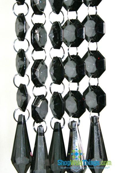 Acrylic Garland Strands - Smoke Black Diamonds (1 dozen strands)