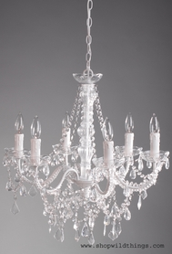 "Chandelier ""Aliana"" White & Crystal - 22"" x 17"" - 6 Lights!"
