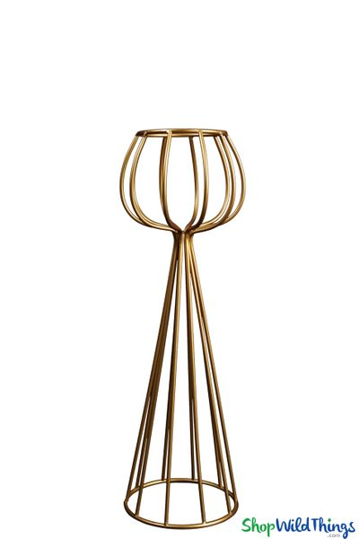 "Gold Vase & Centerpiece Riser ""Alyssa"", Open Metal Design 23"""