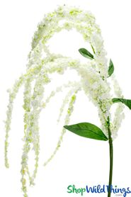 "Amaranthus Spray - 46"" Dangling Floral Spray - White - BUY MORE, SAVE MORE!"