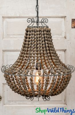 Wooden Beaded Hanging Chandelier With Plug In Power