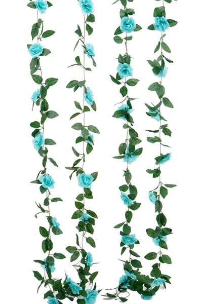 Flower Garland - Silk Rose - 8' - Aqua - BUY MORE, SAVE MORE!