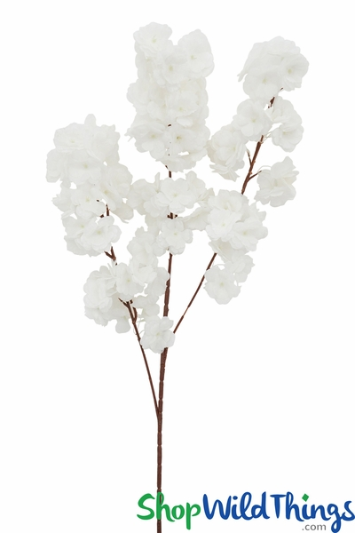 "Dogwood Blossom Branch -  42"" Long - Bendable - Pure White"