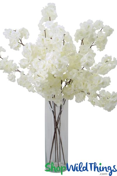 "COMING SOON! Artificial Silk Dogwood Blossom Branch -  42"" Tall - Bendable - Soft White"