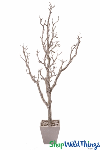Tree in Pot, 3' Tall, Heavy Champagne Glitter Bendable Manzanita