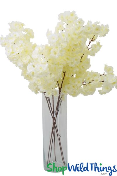 "Artificial Silk Dogwood Blossom Branch -  42"" Tall - Bendable - Cream"