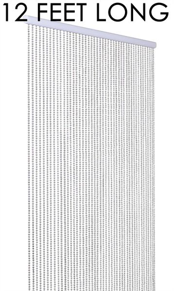 COMING SOON! Ball Chain Faux Metal Beaded Curtain - Silver - 12 Feet Long