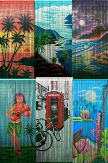Bamboo Beaded Curtains - Beautiful Painted Scenes