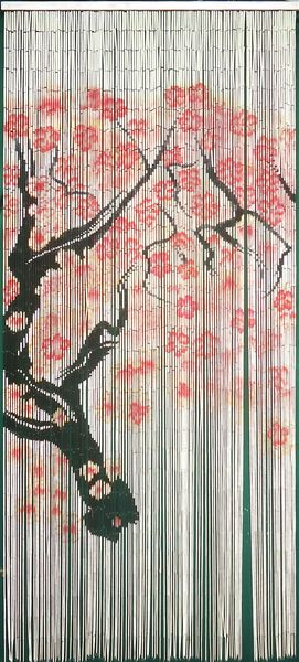 "COMING SOON! Bamboo Painted Beaded Curtain ""Cherry Tree"" - 125 Strands"