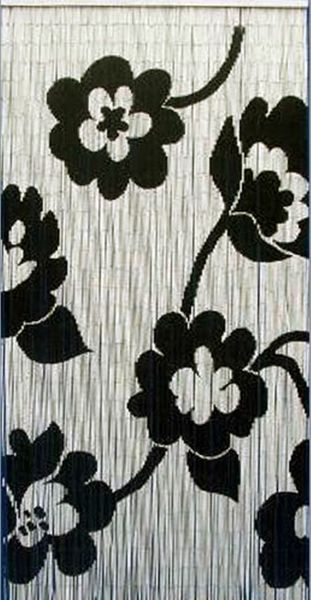 """Bamboo Painted Beaded Curtain """"Flower Pop"""" - 90 Strands"""