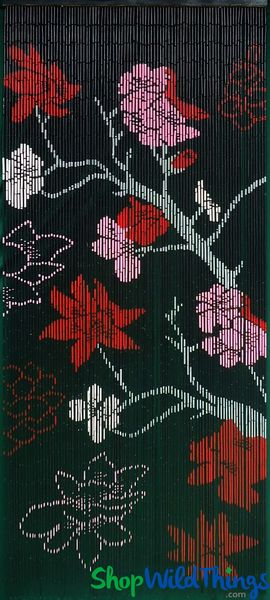 "Bamboo Painted Beaded Curtain ""Gothica Flower"" - 90 Strands"