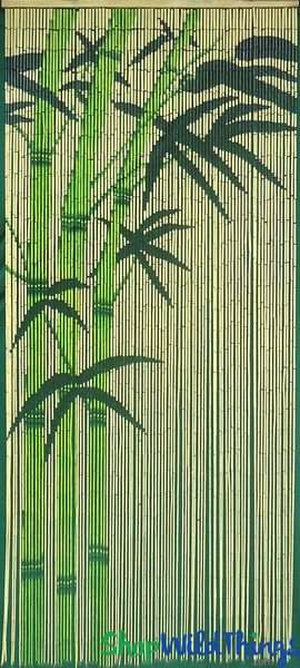 """COMING SOON! Bamboo Painted Beaded Curtain """"Green Bamboo"""" - 90 Strands"""