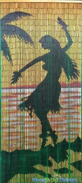 "Bamboo Painted Beaded Curtain ""Hula Nights"" - 90 Strands"