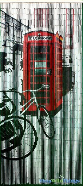 "Bamboo Painted Beaded Curtain ""London Calling"" - 90 Strands"