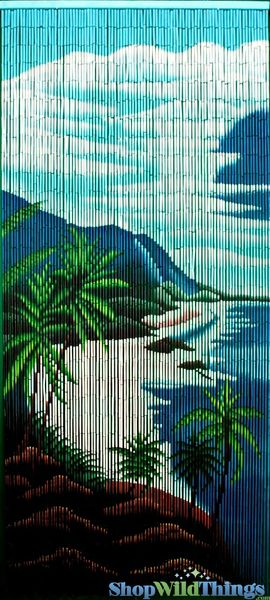 "Bamboo Painted Beaded Curtain ""Makaha"" - 90 Strands"