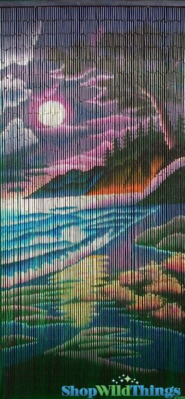 "Bamboo Painted Beaded Curtain ""Moonlight Beach"" - 90 Strands"