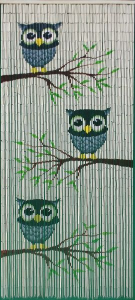 "Bamboo Painted Beaded Curtain ""Owl Family"" - 90 Strands"
