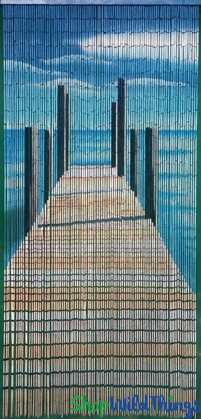 "Bamboo Painted Beaded Curtain ""Pier Curtain"" - 90 Strands"