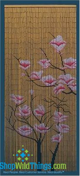 Bamboo Painted Beaded Curtain - Pink Flowers on Natural (on hit TNT TV Show Rizzoli and Isles!)