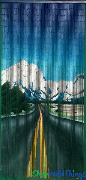 "Bamboo Painted Beaded Curtain ""Road to Nature"" - 90 Strands"