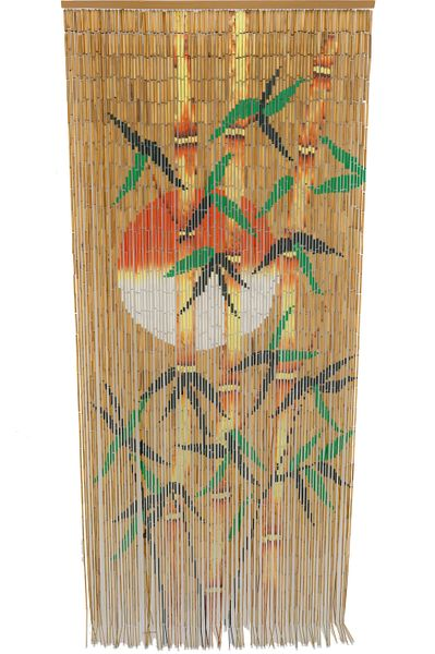 Bamboo Painted Curtain Orange Sun Silhouette Door Beads