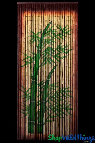 Bamboo Stalks Painted Beaded Curtain