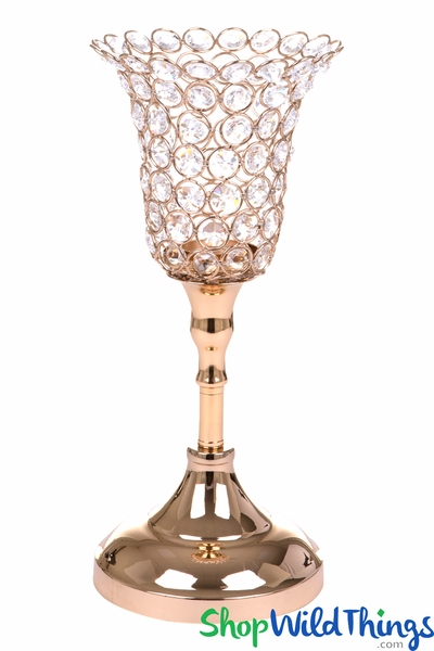 "Beaded Real Crystals Candle Holder - Tulip Shape - ""Prestige"" - Gold 13"""