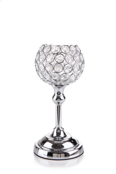 """Beaded Real Crystals Candle Holder - Goblet - """"Prestige"""" -  9"""" Silver (as low as $15.49)"""