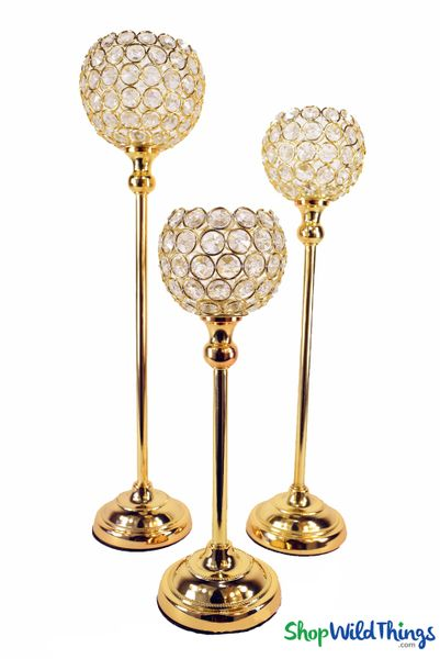 "Beaded Real Crystals Candle Holders - Goblet Set of 3 - ""Prestige"" - Indian Gold"